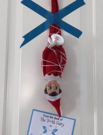 Tooth Fairy Ties Elf on the Shelf with Floss + Printable